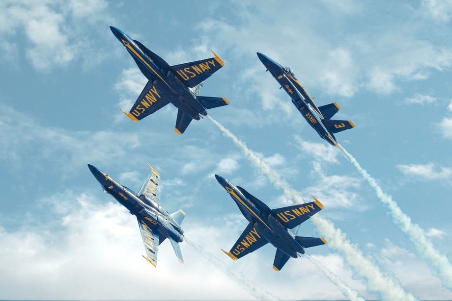 One of my favorite Blue Angels formations. The original photo was taken against a clear blue sky ...