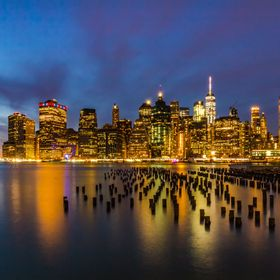 Blue hour over New York City from Brooklyn Bridge Park.