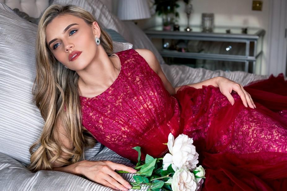 Cailin Tobin, Miss Universe Ireland, posing in a bedroom romance scene in Dublin, ireland.