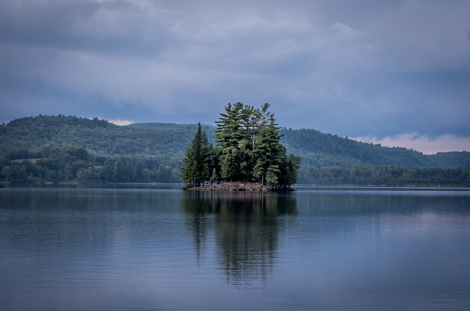 Island on Lac LaBlanche Lake in Mayo, Quebec.