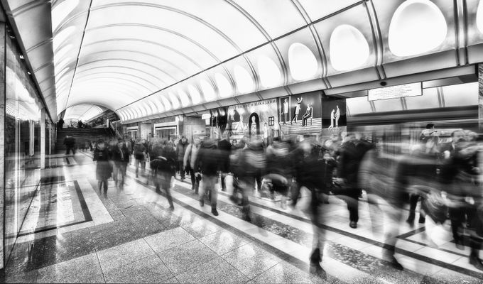In Moscow metro by djurkov - City Life In Black And White Photo Contest