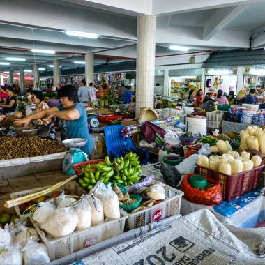 Food market in Borneo.