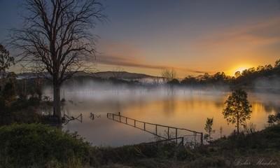 Wyaralong Dam sunrise. QLD. Australia