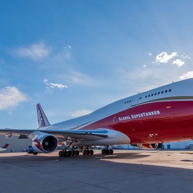 The Global Super Tanker fire fighting aircraft based in Colorado Springs, Colorado