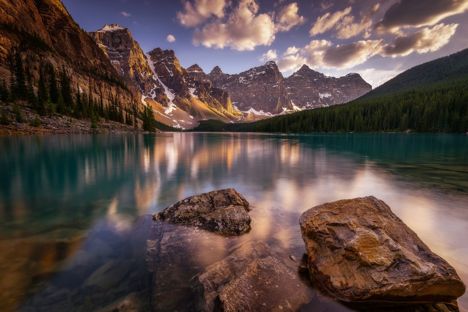An early sunset at Moraine Lake during my visit couple of months ago. I didn't have enou...