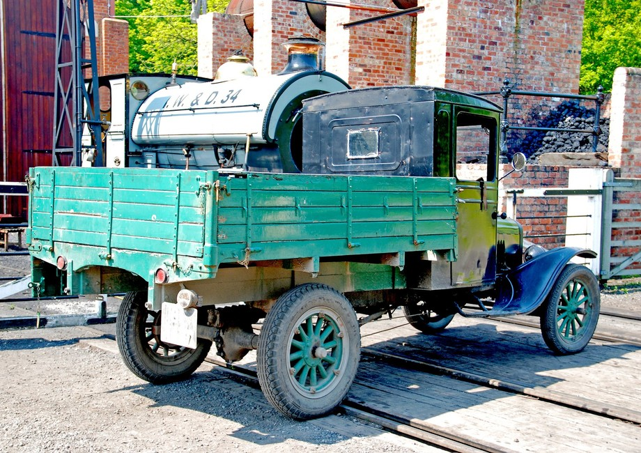 Vintage truck at steam engine works , Beamish living museum.