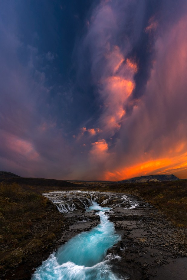 Bruarfoss on Fire by Vanexusphotography - Compositions 101 Photo Contest vol4