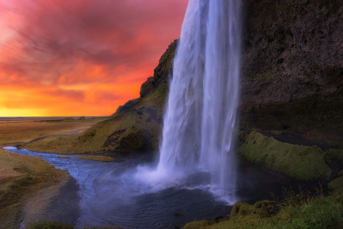 Seljalandsfoss Fiery Sunset by Vanexusphotography - Iceland The Beautiful Photo Contest