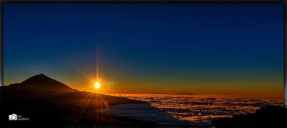 Sunset at almost 3 kilometers height, above the clouds