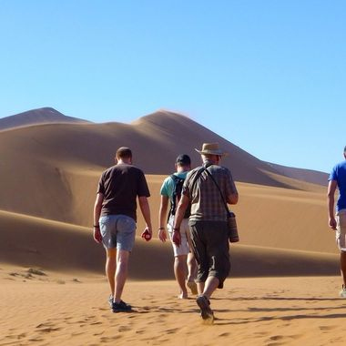 Walking near Dune 45 Namibia.