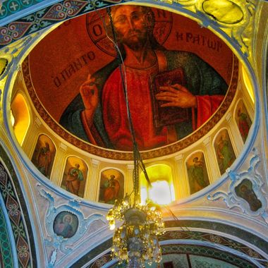 The dome of a Greek Orthodox church in Santorini, Greece.