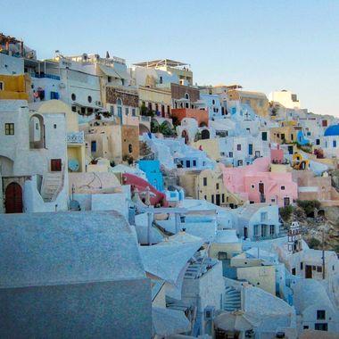 Hillside homes on the island of Santorini, Greece