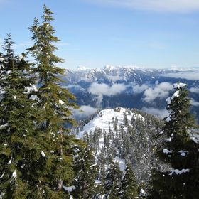 View from Grouse Mountain after snow shoeing to the peak.