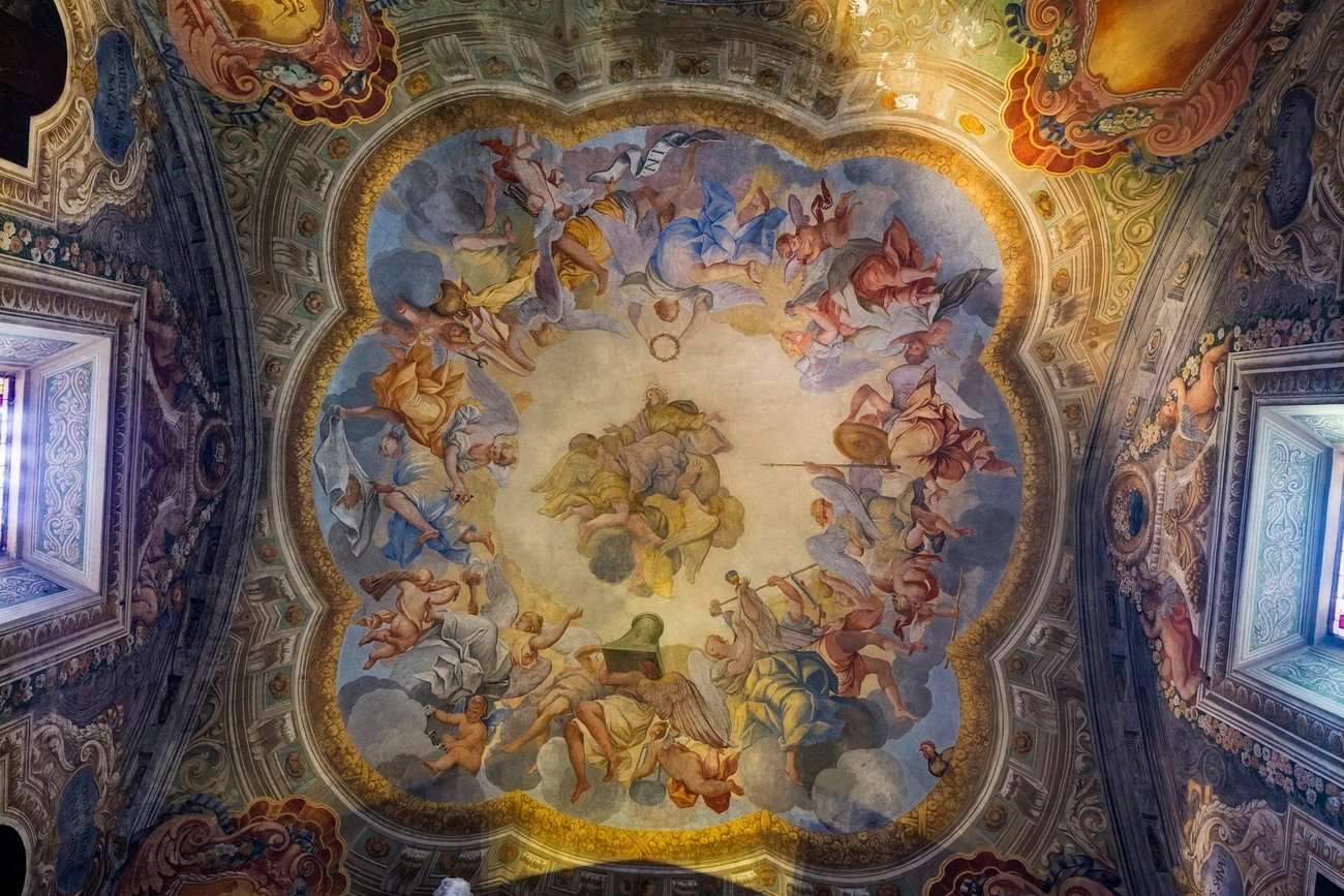 An amazing scene on the ceiling of one of the ante-rooms in the church at  The Abbey of Monte Oliveto Maggiore Tuscany