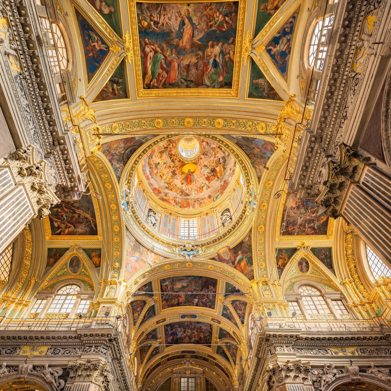 The Chiesa del Gesu, Genoa amazingly detailed with paintings (a couple by Rubens amongst others) gold and marble covering virtually every surface.