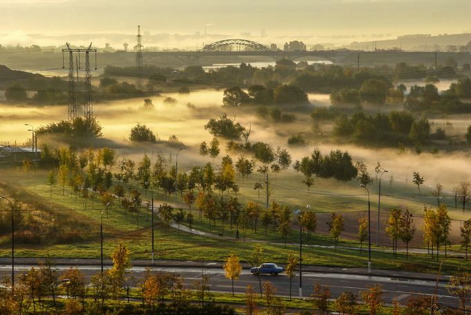 Fog and a township by Gennady - Fog And City Photo Contest