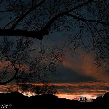 Clouds over mountains, dusk, Colorado Springs, Colorado