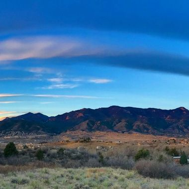 Panorama of the Front Range of the Rockies west of Colorado Springs, Colorado, pre-dawn