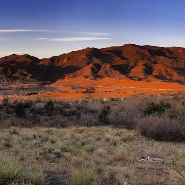 Panorama of the Front Range of the Rockies west of Colorado Springs, Colorado, sunrise