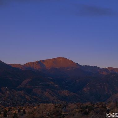 Pikes Peak just as the sun cleared the horizon