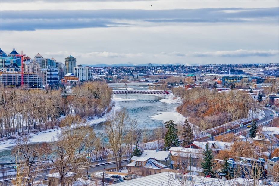 The Bow River and the Peace Bridge from McHugh Bluff in November.  This is an HDR edit of the ori...