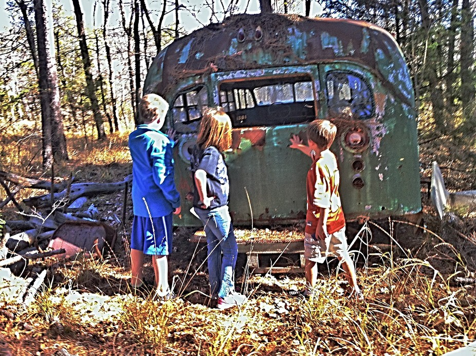 Kids, children, exploring, old school bus, in the woods,