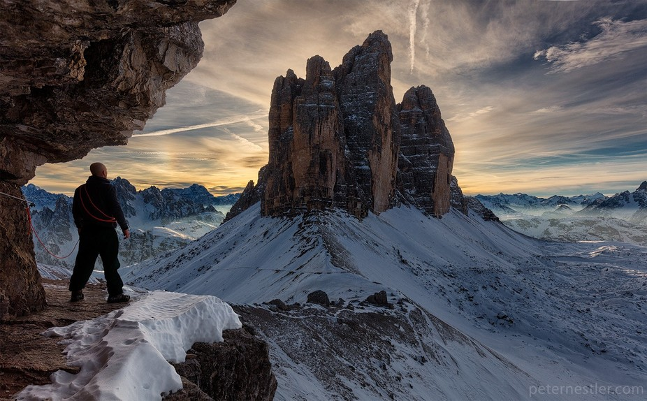 Sunset at Tre Cime. I found a ledge that I could shoot this frame from and decided to model for t...