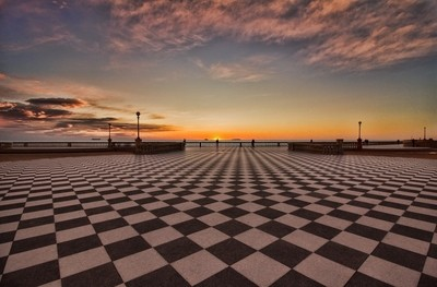 Chess and sunset