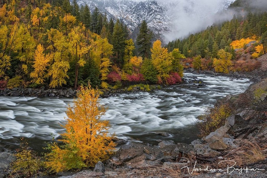Wanache river flowing thru the Tumwater Canyoon with beautiful rapids and fall colors at the morn...