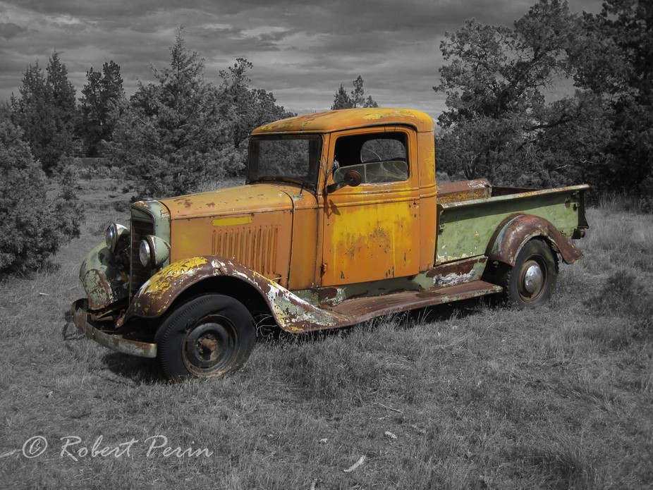 There was this really colorful old car out in the middle of now where Oregon.  I wanted to just e...