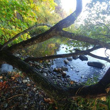 Creek runs into the Salish Sea - a pretty Fall beach - Parksville, B.C. on Vancouver Island - October 12, 2017
