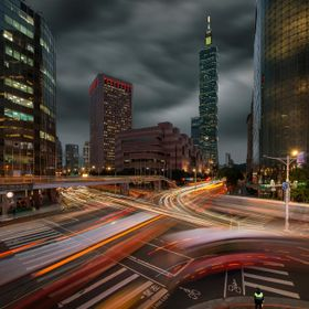 Capturing the dynamic city of Taipei with the stormy skies providing drama to the scene... a fast-paced city in motion.   Captured with the Nikon...