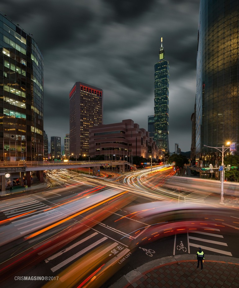 Capturing the dynamic city of Taipei with the stormy skies providing drama to the scene... a fast-paced city in motion.   Captured with the Nikon D800 partnered with the awesome Nikkor 19mm Tilt-Shift lens ????