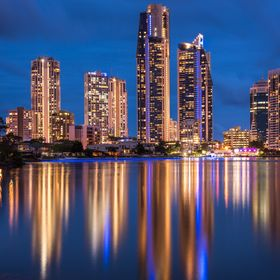 Surfers Paradise, Gold Coast, Australia. Stunning reflection of light over the river. Instagram: @whitevintagetravel