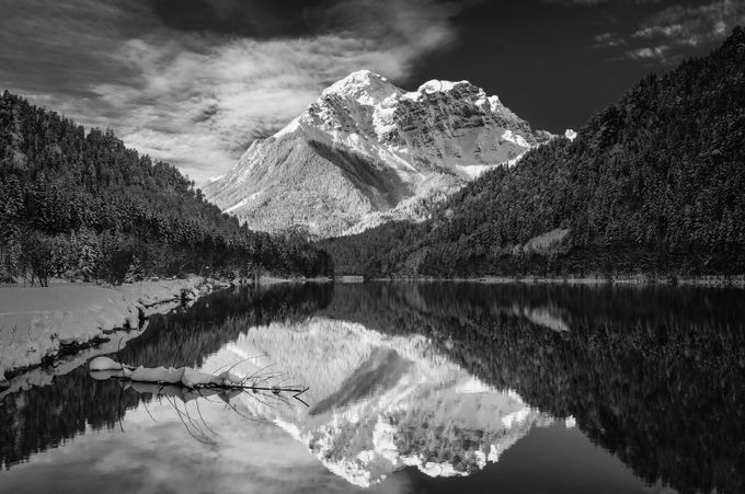 Buchstein Peak by guenther710 - Black And White Mountain Peaks Photo Contest