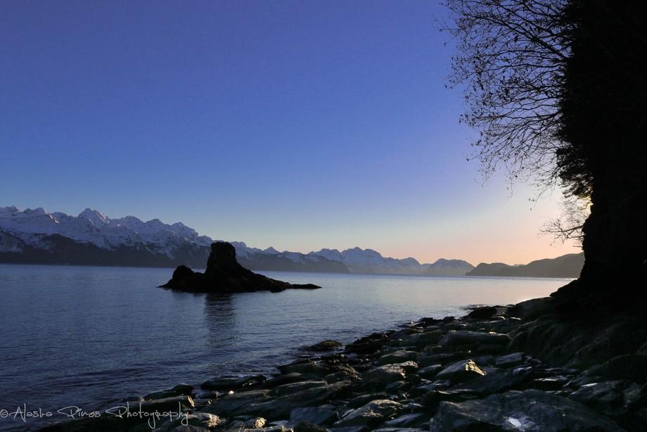 A sunset in Seward, Alaska, on Resurrection Bay.