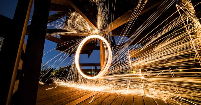 Sparks Fly, Steel Wool (w/o Kad), 1x2, 11.2017 by KColbyPhotography - Finding Circles Photo Contest