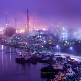 Onsan, near Ulsan South Korea is an industrial city that creates chemicals for the nation.