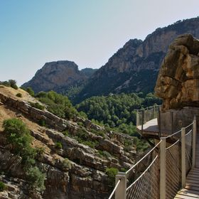 This is a view from the Caminito Del Rey walkway over the canyon in El Chorro, near Malaga, Spain.  It's now safe to walk the Caminito, and ...