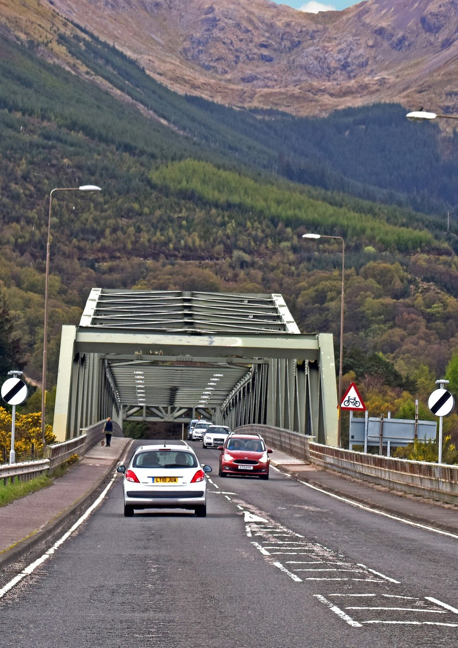 The Ballachulish bridge heading Southbound towards Glencoe Scotland