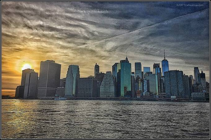 Lower Manhattan with an unusual sky