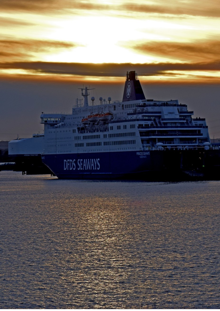 Princess Seaways preparing to depart at dusk