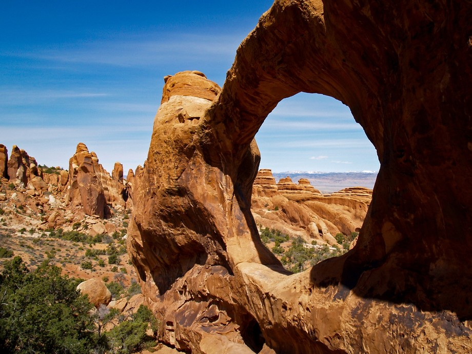 Double O arch at the end of the Devil's Garden trail in Arches National Park, Utah.