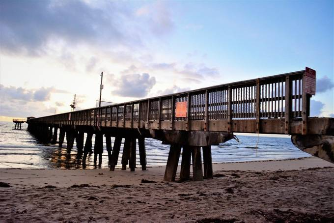 This is how the pier looks after hurricane Irma passed by, it's been fixed after it lost a section of it.