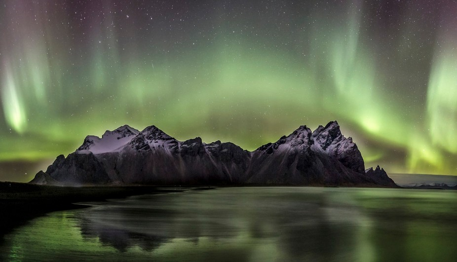 Northern lights at Vestrahorn mountain in Iceland
