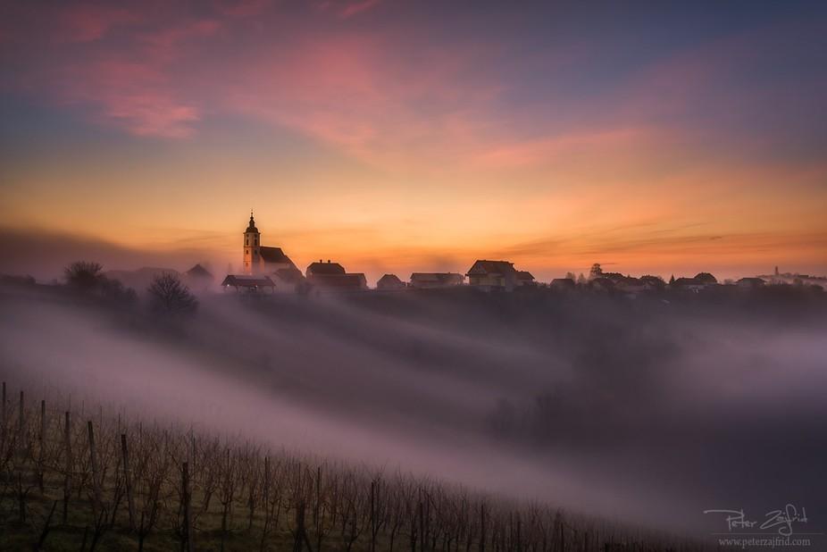 Autumn sunrise in Sveta Ana, Slovenia
