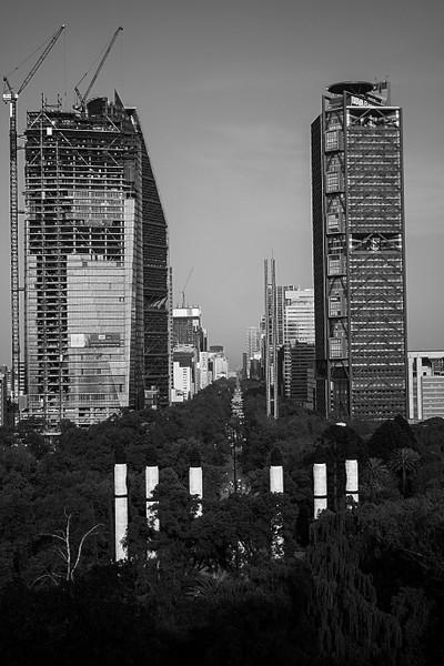 Abstract: At sight i take a walk Reforma street & tower BBVA BANCOMER.