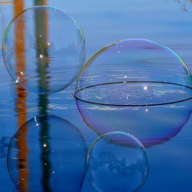Bubbles and reflections on water.