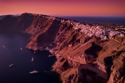 Sunset at Fira from the Sky - Santorini 2017