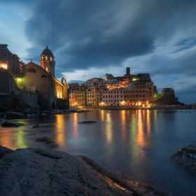 A peaceful morning in Vernazza, Cinque Terre, during the blue hour.